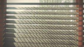 Ciechi di legno del primo piano Luce solare attraverso le finestre al salone Fuoco selettivo e contesto leggero di immagine fotografia stock