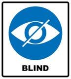 Cieco firmi dentro il cerchio blu, etichetta dell'avviso Icona dell'occhio attraversato Logo piano semplice Immagini Stock