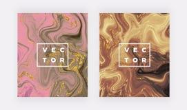 Ciekła akwarela marmuru tekstura Wiruje atrament, czochra projekta tło Modny rzadkopłynny szablon dla świętowania, ulotka, plakat ilustracji