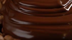 Ciekła czekolady pokrywa hazelnuts zdjęcie wideo