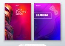 Ciekły kolor pokrywy set Fluid kształtuje skład Broszurka projekt Korporacyjnego biznesu szablon dla broszurki, raport Zdjęcia Royalty Free