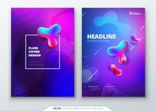 Ciekły kolor pokrywy set Fluid kształtuje skład Broszurka projekt Korporacyjnego biznesu szablon dla broszurki, raport ilustracja wektor