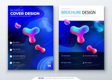 Ciekły kolor pokrywy set Fluid kształtuje skład Broszurka projekt Korporacyjnego biznesu szablon dla broszurki, raport Zdjęcie Royalty Free