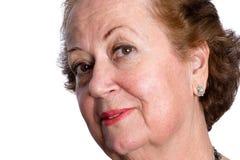Ciekawa pytajna starsza kobieta Fotografia Royalty Free
