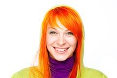 ciekawa włosiana czerwona uśmiechnięta kobieta Obrazy Royalty Free