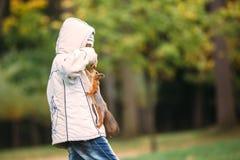 Ciekawa wiewiórka wspina się na niespodzianki chłopiec dostawać dokrętki Zdjęcia Stock