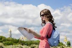 Ciekawa zwiedzająca miasto przewdonika wycieczka turysyczna Kijów Zdjęcie Stock