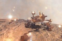 Ciekawość Mars Rover bada powierzchnię czerwona planeta obraz stock