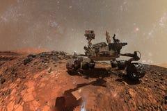 Ciekawość Mars Rover bada powierzchnię czerwona planeta ilustracja wektor