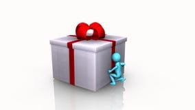 Ciekawy 3D mężczyzna otwiera prezenta pudełko royalty ilustracja