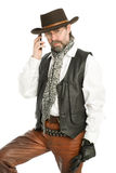 ciekawy mężczyzna telefon komórkowy target573_0_ Obrazy Royalty Free