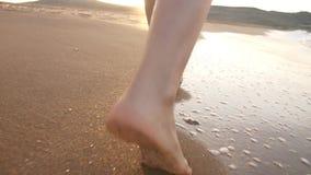 Cieki kobiety odprowadzenie na plaży zbiory wideo
