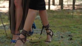 Cieki modelują dla reklamować eleganckich kobiety ` s buty zdjęcie wideo