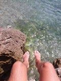 Cieki wiesza nad oceanem Ładny Francja fotografia royalty free