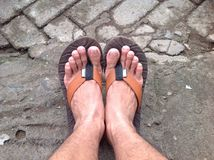 Cieki z sandałami Fotografia Stock
