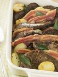 cielęta bekonowe wątroby ziemniaki saute Fotografia Royalty Free