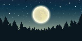 Ciel étoilé avec la pleine lune dans le paysage de forêt illustration stock