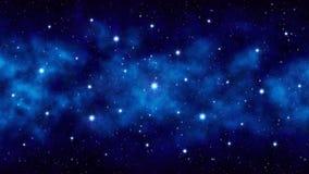 Ciel étoilé de nuit, étoiles lumineuses de fond bleu-foncé de l'espace grandes, nébuleuse illustration libre de droits