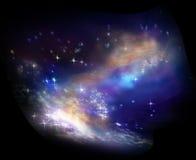 Ciel, étoiles et nuages interstellaires de nébuleuse Images stock