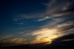 Ciel étonnant au coucher du soleil dans Kazakhstan Photo stock