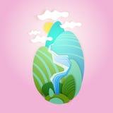 Ciel abstrait de nuage de paysage d'été avec l'herbe verte Forest Banner de Sun Images stock