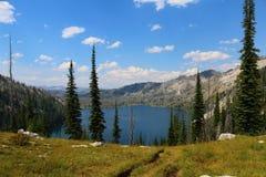 Ciel bleu au-dessus de lac box Images libres de droits