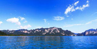 Ciel bleu au-dessus de panorama de l'eau Photographie stock
