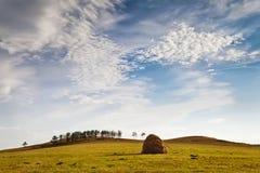 Ciel bleu avec des nuages au-dessus de champ Photo stock