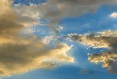 Ciel bleu avec les nuages colorés pelucheux, rayon des lumières, coucher du soleil, aube Photos stock
