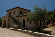 Ciel bleu d'architecture de constructions individuelles de Leucade Grèce Photographie stock libre de droits