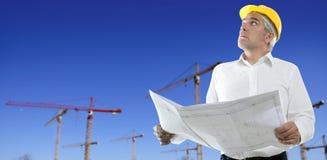 Ciel bleu de grues de construction de plan d'ingénieur Photographie stock libre de droits