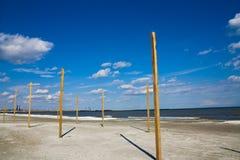 Ciel bleu de la Mer Noire de plage de Navodari Photo stock