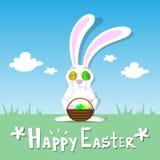 Ciel bleu de Pâques de carte de Bunny Hold Eggs Near Eyes de panier de ressort de paysage de lapin heureux d'herbe verte Images libres de droits