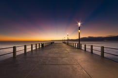 Ciel bleu de pilier de coucher du soleil de lever de soleil de paysage urbain de Durban Images libres de droits