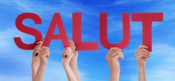 Ciel bleu droit de moyen de Word Salut de personnes bonjour Images libres de droits