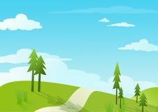 Ciel bleu et côte verte - illustrations Image libre de droits