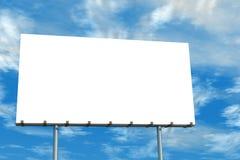 Ciel bleu et nuages de panneau-réclame blanc Photographie stock libre de droits