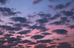 Ciel bleu et rose de soirée pendant une nébulosité de coucher du soleil Photo stock