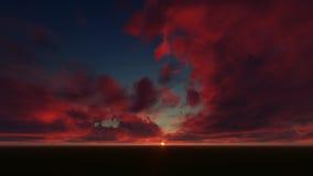 Ciel bleu-foncé avec les nuages rouges Photographie stock