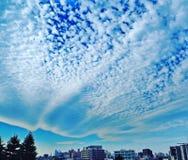 Ciel bleu intense avec les nuages ondulés peu communs au-dessus d'une banlieue de Tokyo photos stock