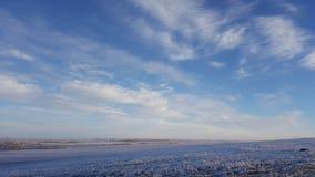 Ciel bleu profond étonnant avec les nuages en forme de plume de cirrus au-dessus de la prairie sèche - fond de nature Cirrus au-d photographie stock