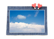 Ciel bleu sur le concept de blues-jean Photographie stock libre de droits