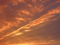 Ciel brûlant de coucher du soleil Photos libres de droits