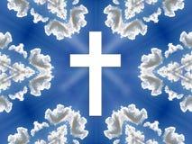 Ciel - ciel bleu, nuages, croix illustration de vecteur