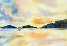 Ciel coloré de peinture de paysage marin d'aquarelle illustration libre de droits