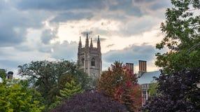 Ciel coloré dramatique à la couleur d'automne d'arbres de tour de château de coucher du soleil photo stock