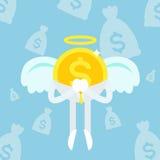 Ciel d'homme d'affaires de pièce de monnaie d'ange Illustration Stock