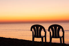 Ciel d'orange de coucher du soleil Photo libre de droits