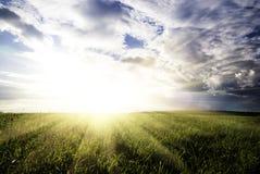 Ciel de champ et de coucher du soleil Photographie stock