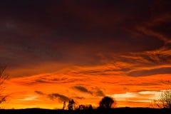 Ciel de coucher du soleil d'hiver Photographie stock libre de droits